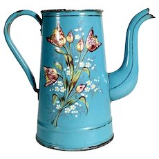 Lovely Painted French Enamel Coffee Pot  Etoile P.E.N. - Lid-less
