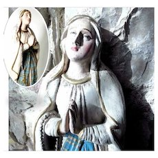Hand Carved German Virgin Our lady of Rosary ca. 1860 – Folk Art Carving
