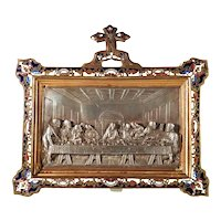 The Last Supper Devotional Depiction Enamel Frame Cloisonne