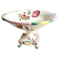 Amazing 19th Century  French Hand Painted Majolica Compote Manufactory Longchamp