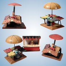 Three Miniature Market Stands for Doll Village