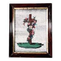 Nice 19th Century Memento Mori Cross & Roses Beadwork