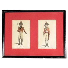 Early 19th Century Hand Colored Lithograph Militaria Captain and General