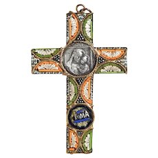 Nice Micromosaic Cross Pendant ca. 1900