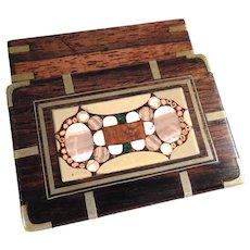 Nice Box Rosewood Veneer & Stone Mosaic Lid