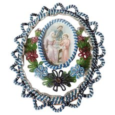 Rare Reliquary Holy Family at the Workplace of Joseph Woven Glass Beads Frame