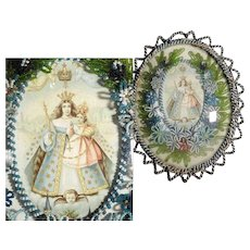 Convent Work Reliquary Coronation of the Virgin Beaded Frame
