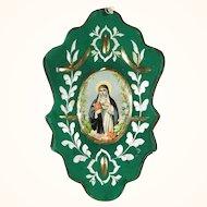Convent Work Nun Mirror Devotional Image of Saint Bridget of Sweden