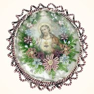 Large Antique Convent Work Reliquary Jesus Sacred Heart Beaded Frame