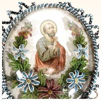 Antique Convent Work Reliquary Saint Peter Beaded Frame – Very Rare Depiction