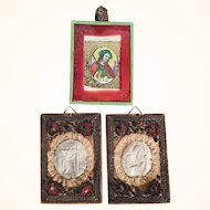 Three Antiques Convent Works Jesus Saint Christopher and Saint Francis
