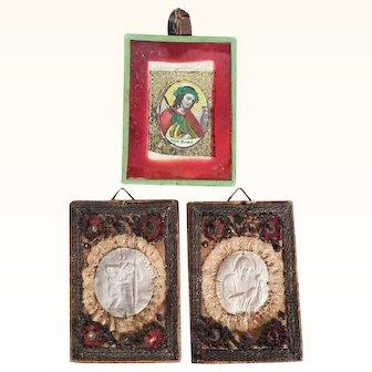 Three Antiques Convent Works Jesus Saint Christopher and Saint Francis
