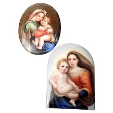 Two Delightful Porcelain Miniature Pictures Virgin with Child
