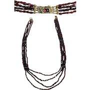 Enchanting Vintage Garnet Necklace 8K Gold Closure