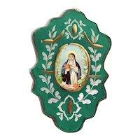 19th Century Devotional Image of Saint Bridget of Sweden Nun Mirror