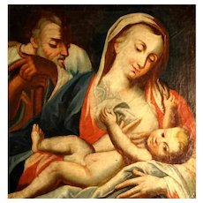 Late Baroque Painting Nursing Madonna about 1750/1800