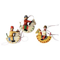 Three Vintage Wooden Christmas Ornaments Horsemen from the Erzgebirge