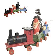 Christmas Display Wooden Train Santa Toys