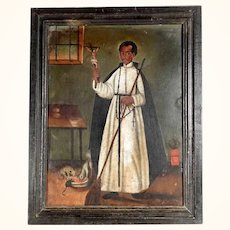 Rare and Fascinating Retablo Saint Martin de Porres