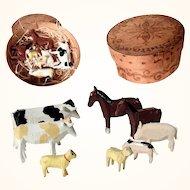 Handmade Erzgebirge Animals Horse Cow Pig Sheep w. Pantry Box