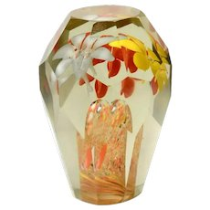 Bohemia Beveled Glass Paperweight with Amazing Flower Inclusions