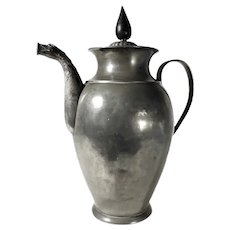 Gorgeous Pewter Tea or Chocolate Pot dated 1826