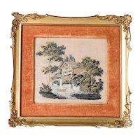 19th Beautiful Needlepoint Picture Landscape Lake Shore