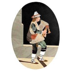19C Large Pietra Dura Picture Young Man Playing Sardulina