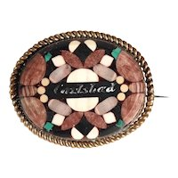 Antique Brooch Stone Mosaic Karlsbad Bohemia about 1900
