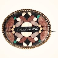 Antique Brooch Sone Mosaic Bohemia about 1900