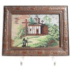 Amazing Beadwork Made about 1860 Pilgrimage Scenery