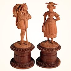 19th C Pair of Pillboxes Hand Carved Miniatures Country Woman and Chapman