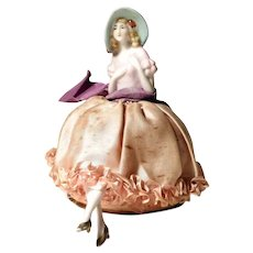 German Half Doll with Box Pin Cushion ca. 1920