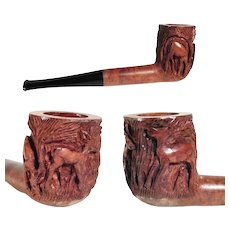 Old Hand Carved Wooden Pipe Dears St. Claude Pipe
