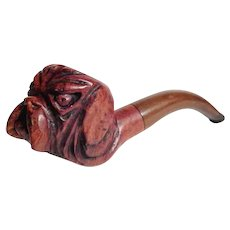 Hand Carved Italian Briar Pipe Dog Head