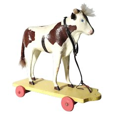 German Papier Mache Toy Flocked Ox on Wheels –Lovely Old Piece