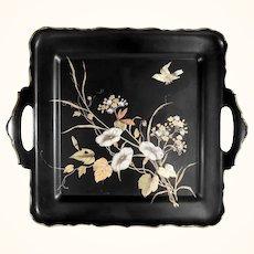 19th Century Papier Mache Tray Flowers Bee Bird