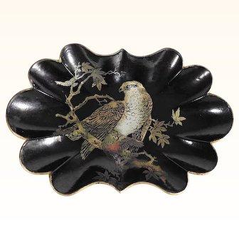 19th Century Papier Mache Tray Unusual Motifs Majestic Falcon