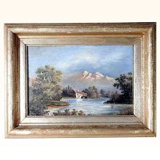Excellent Landscape Painted on Slate Signed and dated 1883