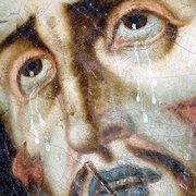 Baroque Painting Jesus with Thorn Crown and Black Death Wounds