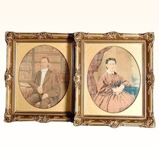 Excellent Pair Ancestor Portraits Water Color  ca. 1870
