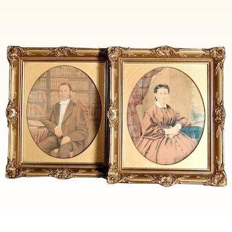 Excellent Pair Ancestor Portraits Water Color  ca. 1870