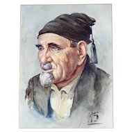 Stunning Water Color Portrait Man with Fez