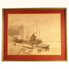 Excellent Brush Drawing  Brittany France Dated 1850