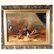 19th Century Painting - Chicken House – Oil on Canvas Artist Signed