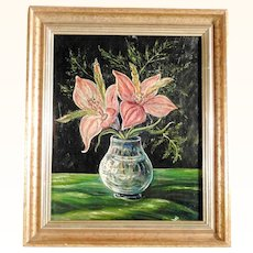 Lovely  Amaryllis Branches in Glass Vase Still Life ca. 1900/20