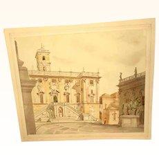 Beautiful Study Pallazo Senatorio Rome Water Color /Pencil