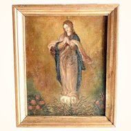 Antique 19th Century Painting on Copper Virgin at the Burning Bush