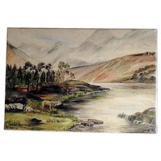 Landscape with Cattle – signed Hawkins and dated 1916