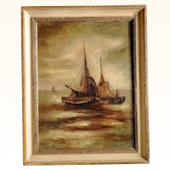Oil Painting Fishing Boats at Sunset  Artist Signed ca. 1920
